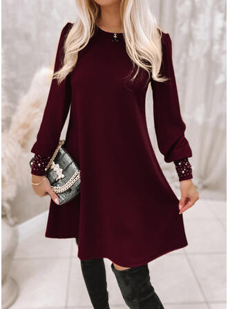 Solid Long Sleeves Puff Sleeve A-line Knee Length Casual Skater Dresses
