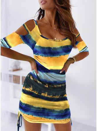 Tie Dye Mangas 1/2 Ajustado Sobre la Rodilla Casual/Vacaciones Vestidos