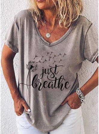 Dandelion Figure Print V-Neck Short Sleeves T-shirts