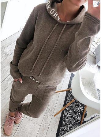 Solid Sportig Fritids Extra stor storlek sweatshirts & Tvådelade kläder uppsättning