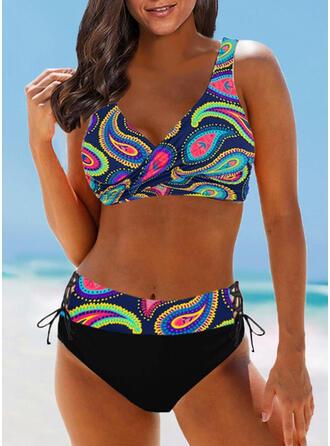 Impresión Correa Cuello en V Boho Bikinis Trajes de baño