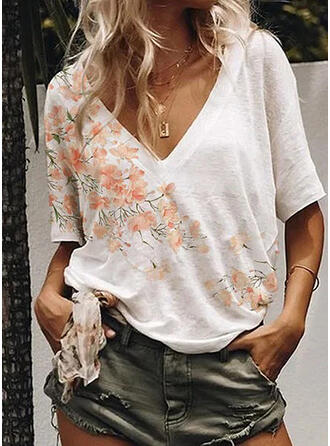 Floral Print V-Neck 1/2 Sleeves T-shirts
