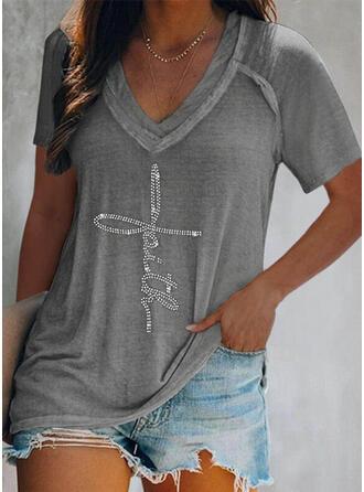 Figur Paljetter V-ringning Korta ärmar T-tröjor