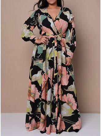 Plus Size Floral Print Long Sleeves A-line Maxi Casual Elegant Dress
