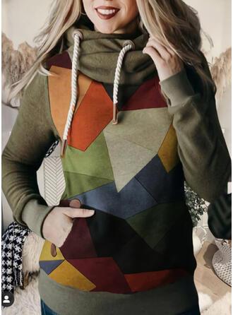 estampado geométrico Manga larga con capucha