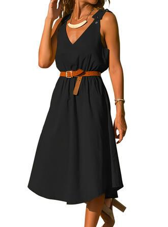 Sólido Sem mangas Vestido linha-A Skatista Vestido Preto/Casual Midi Vestidos