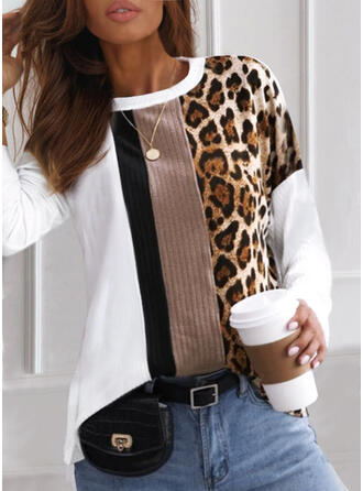 Color Block Leopard Round Neck Long Sleeves T-shirts
