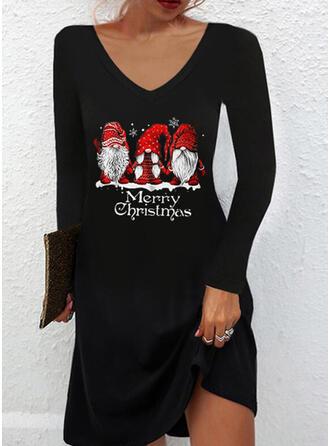 Navidad Impresión/Carta Manga Larga Vestidos sueltos Sobre la Rodilla Casual Camiseta Vestidos
