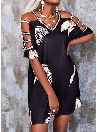 印刷/スパンコール 半袖 シフトドレス 膝上 カジュアル チュニック ドレス