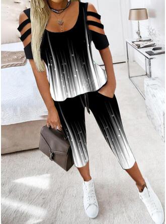 Tisk Neformální Plus velikost tee & Dvoudílné outfity Set ()
