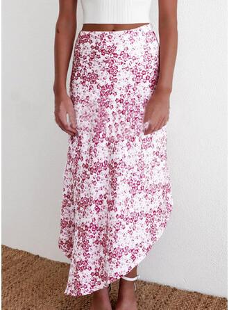 ポリエステル 印刷 ミッドカーフ ラインスカート 非対称