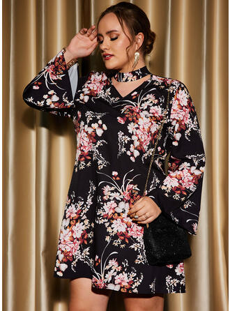 Print/Floral Long Sleeves Shift Above Knee Party/Plus Size Dresses