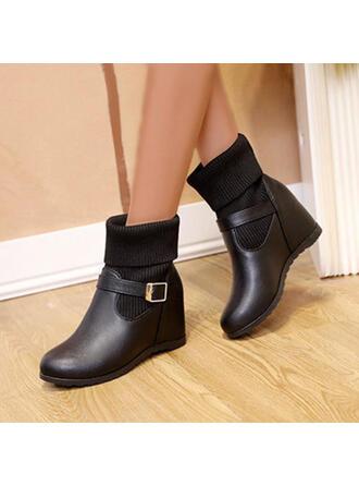 婦人向け PU プラットフォーム ブーツ アンクルブーツ とともに ソリッドカラー 靴