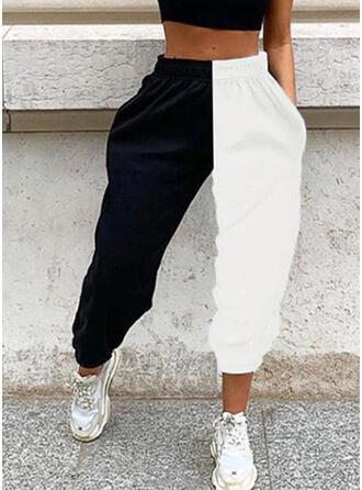 Patchwork Pockets Plus Size Long Casual Sporty Pants