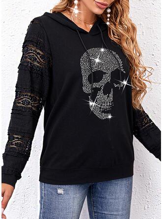 Print Skull head Lace Long Sleeves Hoodie