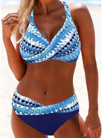 Color de Empalme Escotado por detrás Ata para arriba Cuello en V Sin Tirantes Deportes Casual Bikinis Trajes de baño
