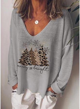 Minta λεοπάρδαλη Φιγούρα V-nyak Hosszú ujjú Hétköznapokra Χριστούγεννα robić na drutach Μπλουζάκια