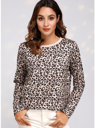 Leopardo Cuello redondo Manga Larga Casual Camisetas