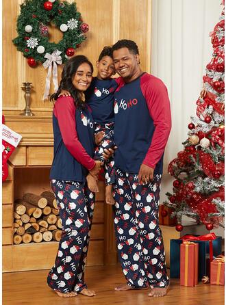 Σάντα Χρώμα μπλοκ Επιστολή Οικογένεια Εμφάνιση Χριστουγεννιάτικες πιτζάμες