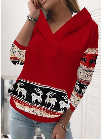Christmas Print Reindeer Hooded Long Sleeves Christmas Sweatshirt