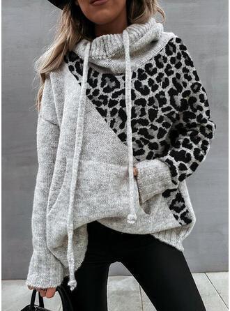 Blocchi di colore Tasche leopardo Cappuccio Casual Maglioni