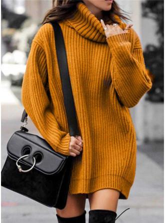 Solido Maglia grossa Dolcevita Abito maglione