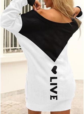 印刷/カラーブロック/ハート/文字 長袖 ドロップショルダー シフトドレス 膝上 カジュアル Tシャツ ドレス