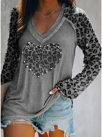 Beaded Leopard Heart V-Neck Long Sleeves T-shirts