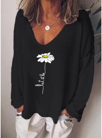 Impresión Floral Cuello en V Manga Larga Casual Camisetas