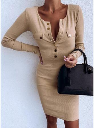 Egyszínű Hosszú ujjú Testre simuló ruhák Térd feletti Kis fekete/Hétköznapokra/Elegáns φορέματα