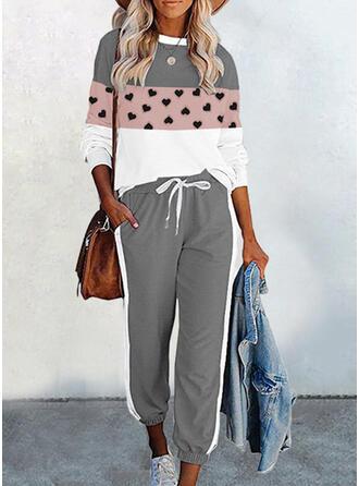 ハート 印刷 カラーブロック カジュアル プラスサイズ スウェット & ツーピースの服 Set ()