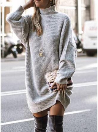 Solide Kabel-gebreid Grof gebreid Coltrui Sweaterjurk