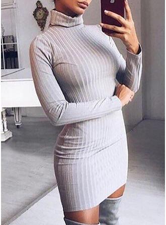 Sólido Acanalado Cuello De Tortuga Vestido de Suéter