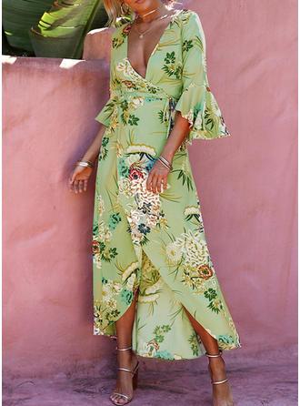 Impresión/Floral Mangas Acampanadas Acampanado Asimétrico Casual/Bohemio/Vacaciones Vestidos
