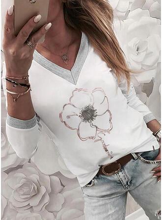 Figur Blommig Print V-ringning Långa ärmar T-tröjor