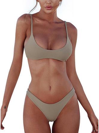 Color Sólido Cintura Baja Correa Cuello en U Sexy Bikinis Trajes de baño