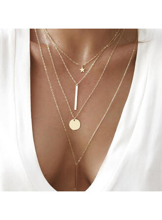 Simple Layered Star Alloy With Coin Women's Necklaces Beach Jewelry 4 PCS