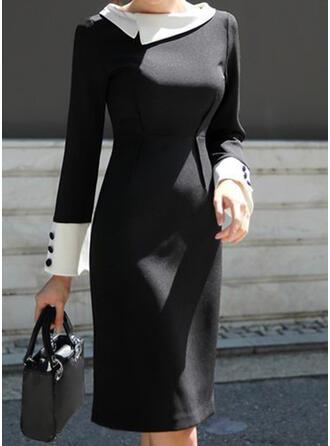 Sólido Manga Larga Cubierta Hasta la Rodilla Casual/Elegante Vestidos
