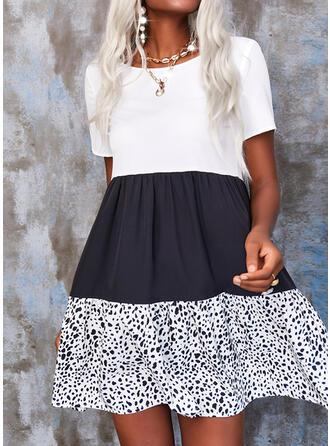印刷/カラーブロック 半袖 シフトドレス 膝上 カジュアル ドレス
