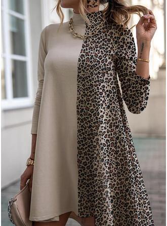 leopardo Maniche lunghe Sottoveste Sopra il ginocchio Casuale Tunica Abiti