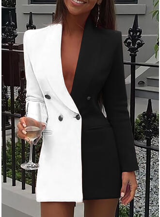 Color Block Long Sleeves Bodycon Above Knee Casual/Elegant Dresses