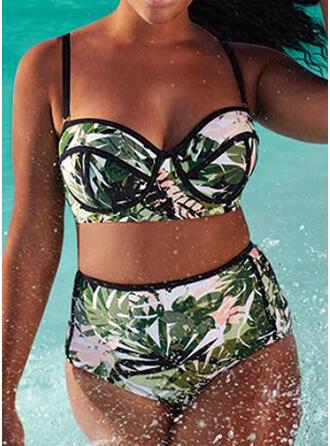 Hojas Impresión Empujar Correa Sexy Bohemio Talla extra Bikinis Trajes de baño