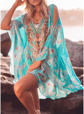 Print/Floral 3/4 Sleeves/Flare Sleeves/Split Sleeve Shift Above Knee Boho/Vacation Tunic Dresses