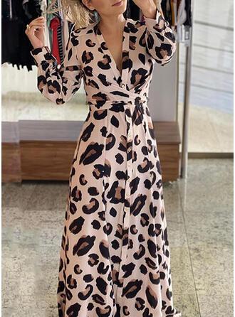 Leopardo Manga Comprida Evasê Skatista Elegante Maxi Vestidos