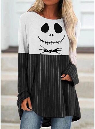 Halloween カラーブロック 印刷 縞模様の 動物 ラウンドネック 長袖 ()