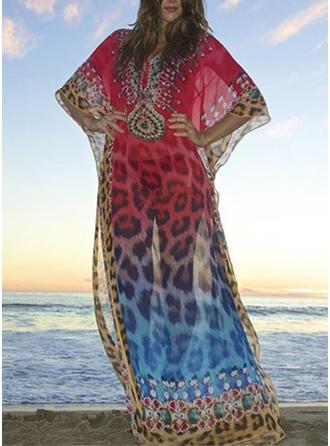 Leopardo Impresión Cuello en V Sexy Pareo Trajes de baño
