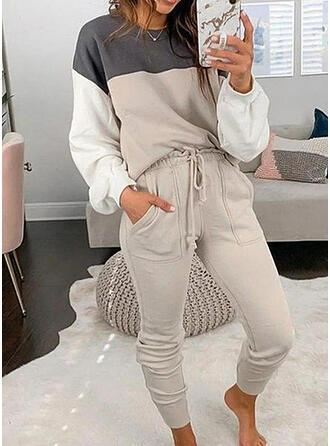 Kapsy Color Block Sportovní Neformální Plus velikost Closure & Dvoudílné outfity Set ()