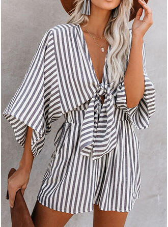 Print Striped V-Neck 3/4 Sleeves Casual Romper