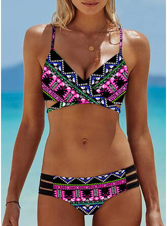 Impresión Correa Sexy Boho Bikinis Trajes de baño