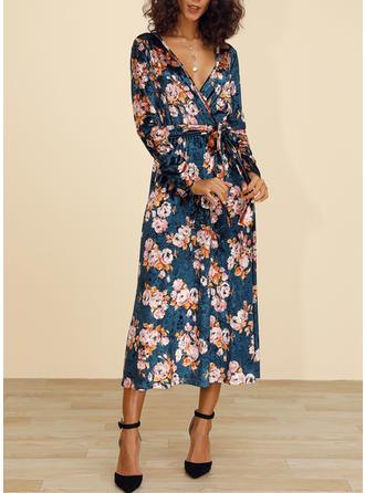 Impresión/Floral Manga Larga Acampanado Casual/Elegante/Bohemio/Vacaciones Midi Vestidos